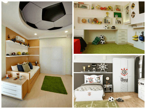 Decoração de quarto infantil masculino com tema futebol