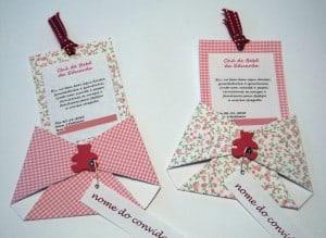 convite decorado para chá de fralda de menina