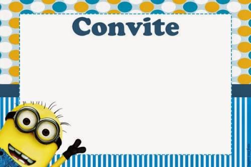 convite de festa infantil dos minions