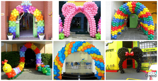 arcos com balões para aniversário de criança