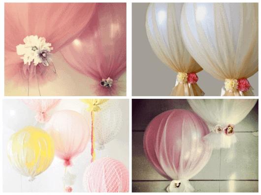 balões decorados com tecidos