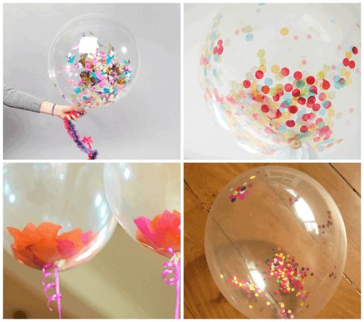 decorando festa com balões e confete