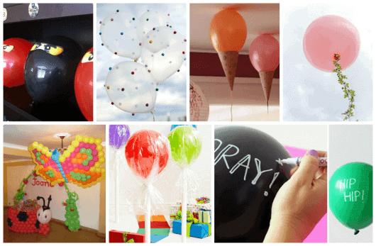 decoração com balões no teto e no chão