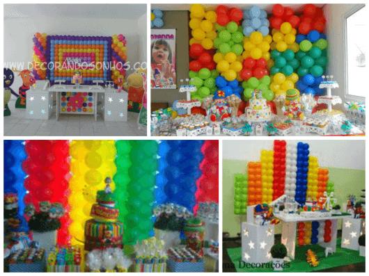 DECORA u00c7ÃO DE FESTA INFANTIL COM BAL u00d5ES 48 Ideias -> Decoração De Festa Com Balões No Teto