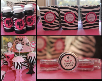 decoração de festa da barbie rosa preto e branco