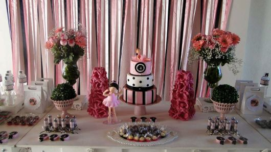 Festa Bailarina personalizada rosa e marrom passo a passo