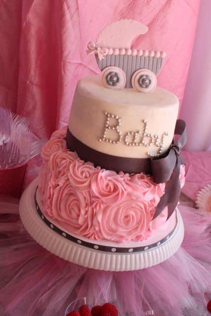 Como fazer bolo para chá de bebe rosa e marrom passo a passo