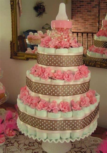 bolo de fraldas rosa e marrom barato - como fazer