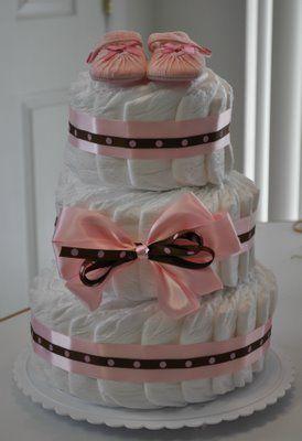 Fotos de bolo de fraldas rosa e marrom lindos
