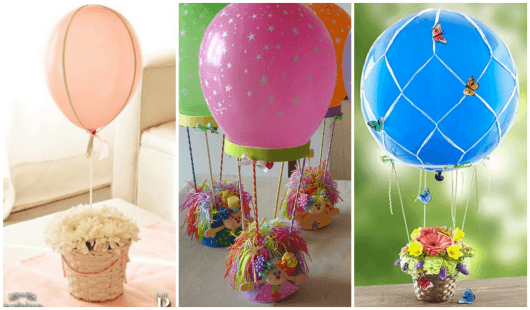 centro de mesa para festa infantil com balões