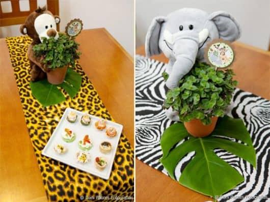 centro de mesa para festa infantil safari