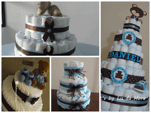 como fazer bolo de fraldas azul e marrom