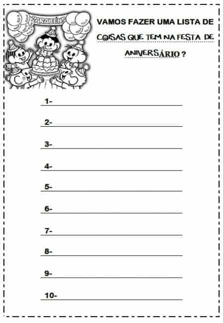 organizando aniversário lista para imprimir