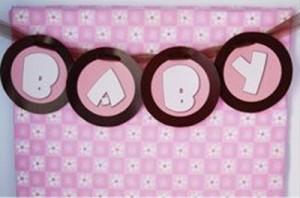Decoração de chá de bebê rosa e marrom delicada fofa