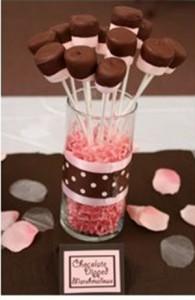 Fotos de enfeites de chá de fraldas rosa e marrom