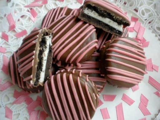 Ideias de doces para chá de bebe rosa e marrom