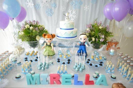 Mesa de bolo - Festa Frozen - como fazer