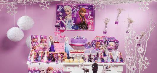 Fotos de decoração de Festa Frozen rosa e azul