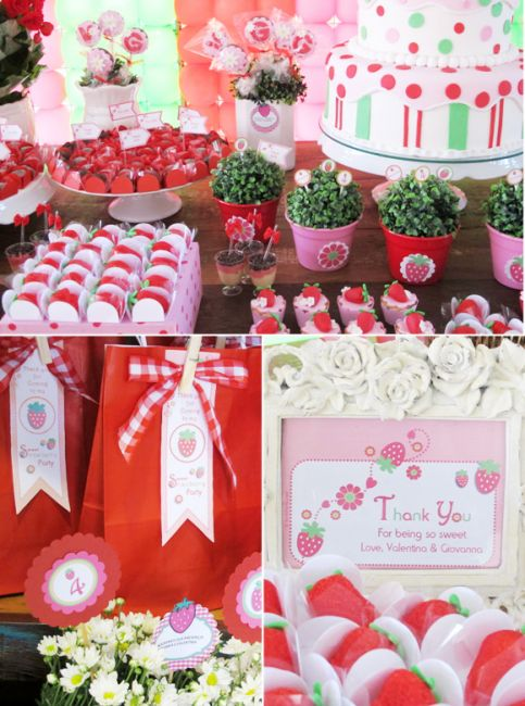mesa e bolo decorado da moranguinho