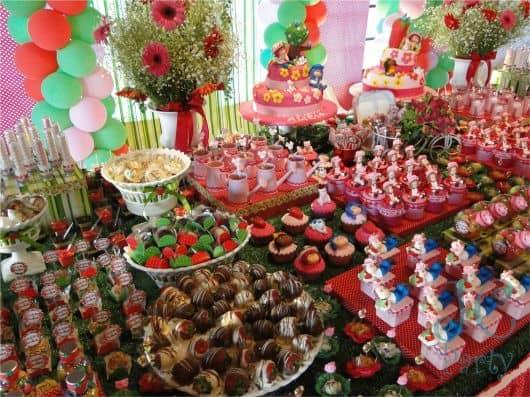 festa temática moranguinho - doces
