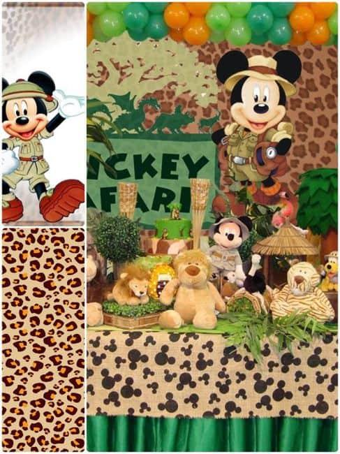 aniversário da selva com Mickey Mouse