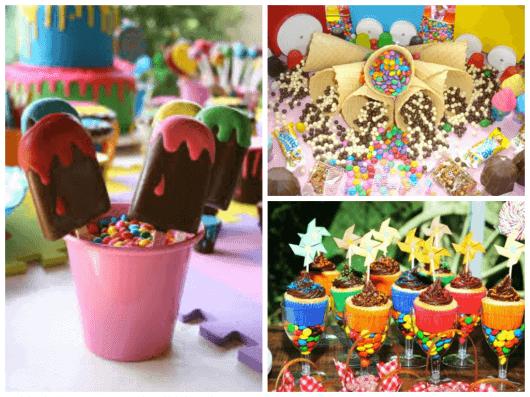 imagem de mesa de doce para aniversário