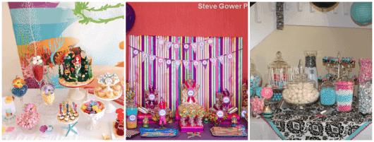mesa simples com doces