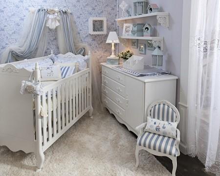 Quarto com decoração provençal para bebê menino