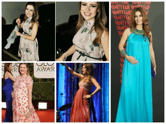 imagens de grávidas famosas com vestidos
