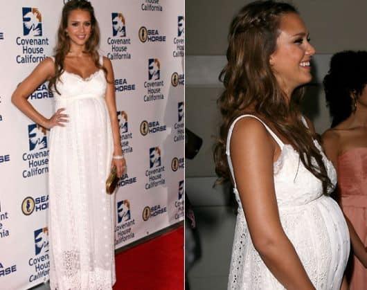 vestido branco para grávidas