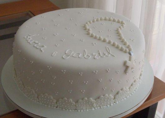 bolo personalizado de batismo com terço