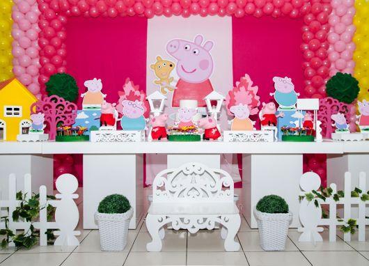 decoração de aniversário peppa pig provençal rosa
