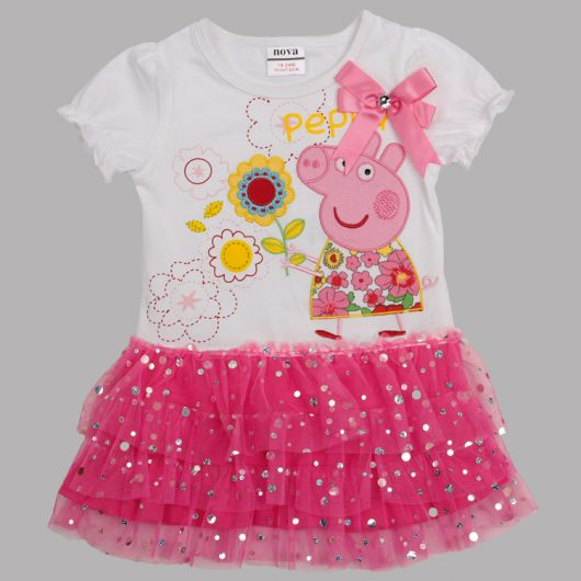 vestido festa peppa pig rosa e branco