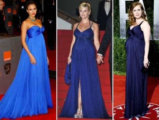 vestidos azuis de grávida