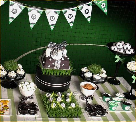 Decoração de festa futebol preto e verde