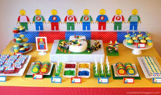 festa lego centro de mesa