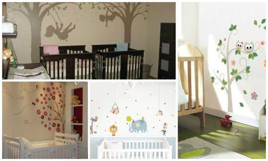 Fotos de parede decoradas com adesivos infantis