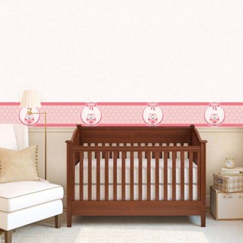 faixa rosa para cantinho do bebê