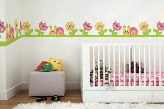 faixa infantil para quarto de bebê de flores