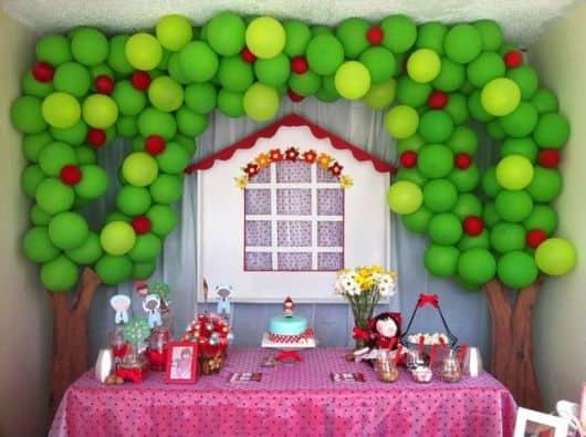 Decoração de Festa Chapeuzinho Vermelho com balões