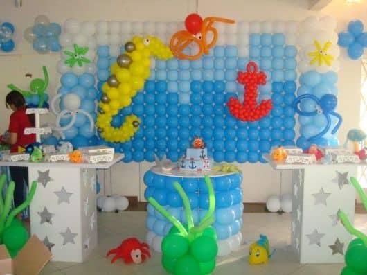 festa fundo do mar clean - ornamentação