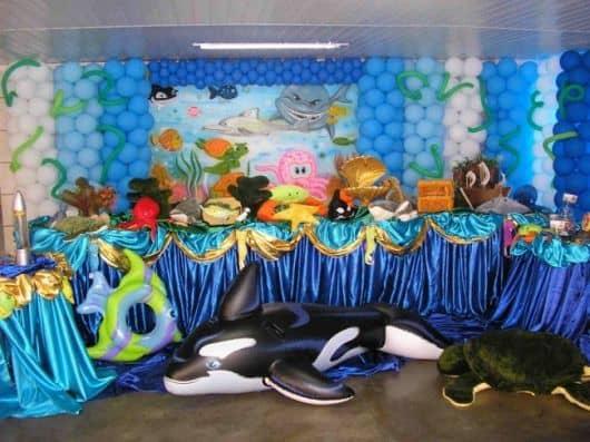 festa fundo do mar decoração