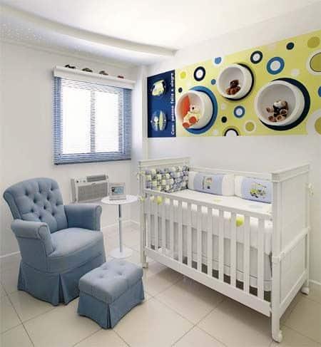 nicho para quarto de bebê azul