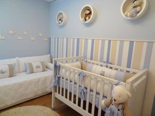 Papel de parede azul para quarto de menino