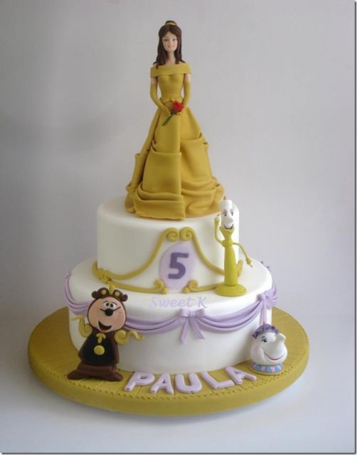 bolo da princesa A bela e a fera