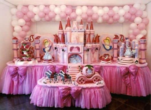 festa infantil rosa da cinderela