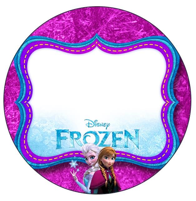 Rótulo rosa e lilás da Frozen