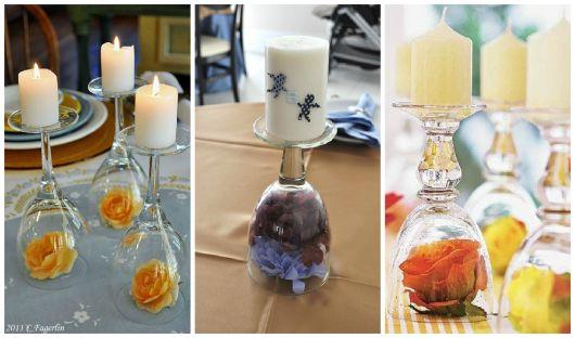 centro de mesa para batizado com flores e velas