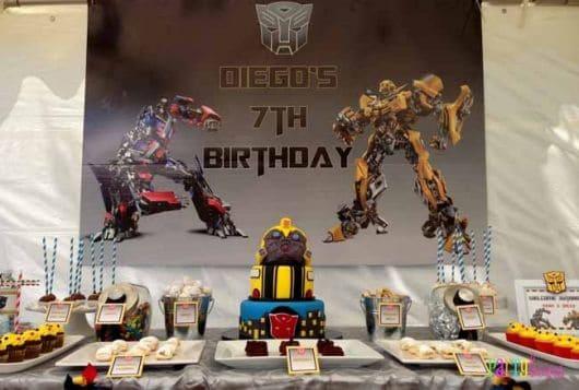 painel de festa do transformers