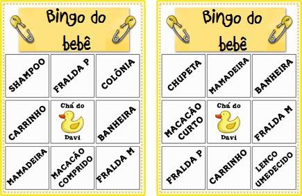prêmios do Bingo Para Baby Chá